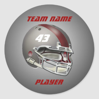 灰色|あずき色|フットボール|ヘルメット 丸形シールステッカー