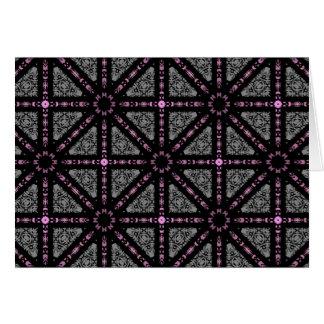 、灰色、かわいいゴシック様式万華鏡のように千変万化するパターン黒ピンク カード