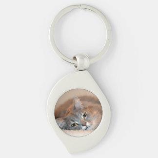 灰色、タンのShirleyテイラー著白い長い髪猫 キーホルダー