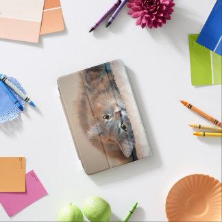 灰色、タンのShirleyテイラー著白い長い髪猫 iPad Miniカバー