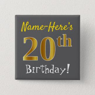 灰色、名前をカスタムするを用いる模造のな金ゴールドの第20誕生日、 5.1CM 正方形バッジ
