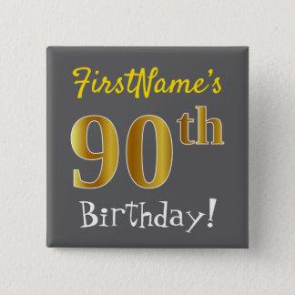 灰色、名前をカスタムするを用いる模造のな金ゴールドの第90誕生日、 缶バッジ