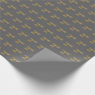灰色、模造のな金ゴールドの第2 (二番目に)イベントの包装紙 ラッピングペーパー