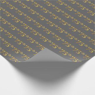 灰色、模造のな金ゴールド第75の(70第5)イベント ラッピングペーパー