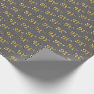 灰色、模造のな金ゴールド第91の(90最初)イベント ラッピングペーパー