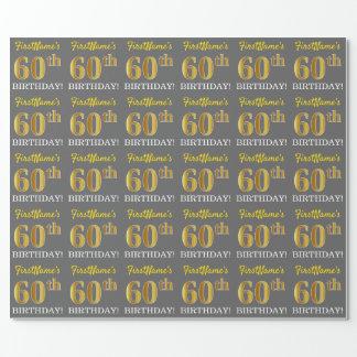 """灰色、模造金ゴールドの一見""""第60誕生日"""" ラッピングペーパー"""