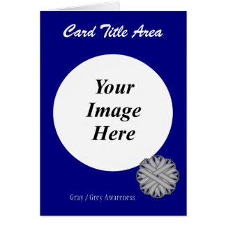 灰色/灰色の花のリボンのテンプレート カード