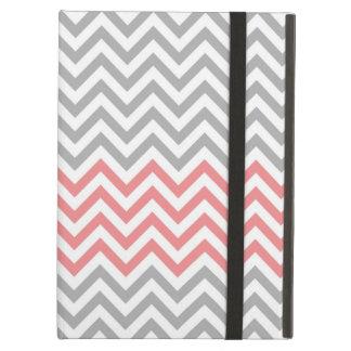 灰色、白いおよび珊瑚のシェブロン iPad AIRケース