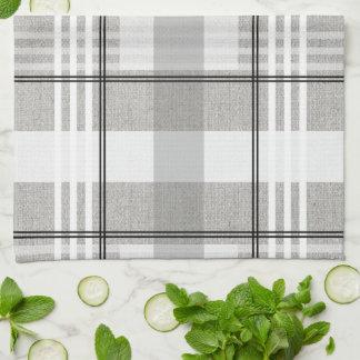 灰色、白く、及び黒い格子縞の台所タオル キッチンタオル