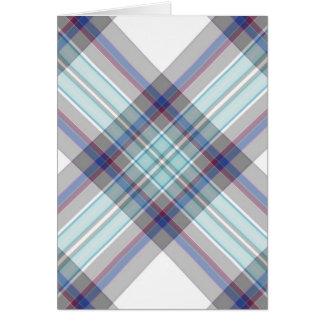 灰色、白く、青、赤いおよび緑のタータンチェック カード