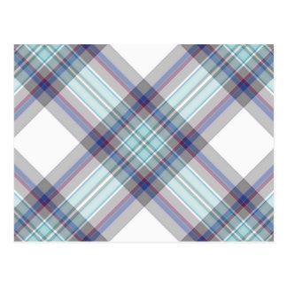 灰色、白く、青、赤いおよび緑のタータンチェック ポストカード