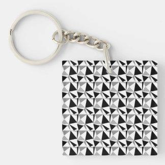 灰色、白黒モダンで幾何学的なパターン キーホルダー