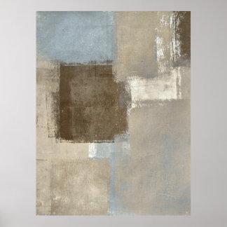 灰色「道」およびベージュ抽象美術ポスタープリント ポスター