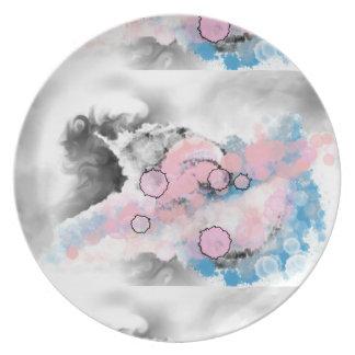 灰色、青いおよびピンクの夢みるようなメラミンプレート プレート