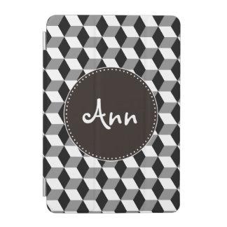 灰色、黒く及び白い3Dはパターンを立方体にします iPad MINIカバー
