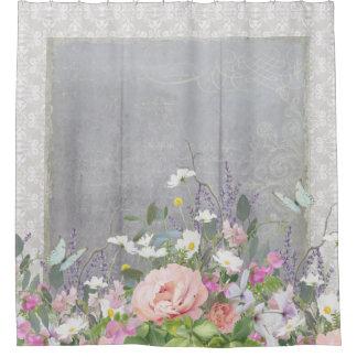 灰色nの白い農家の国のシックな花のシャクヤク シャワーカーテン