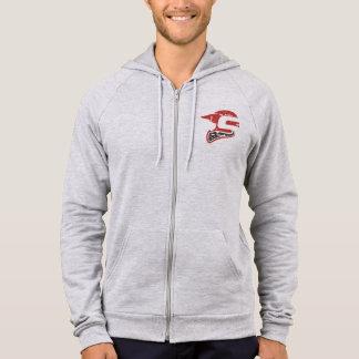 灰色Sledders.comのヒースはフード付きスウェットシャツのファスナーを締めます パーカ