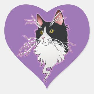 灰、ひげを搭載する子猫 ハートシール