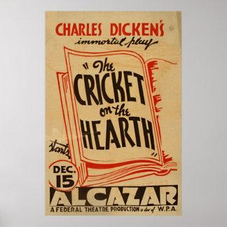 炉のヴィンテージWPAのチャールズ・ディケンズのコオロギ ポスター