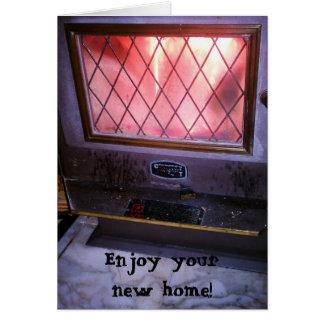 炉の暖炉のWoodstoveの新しい家 グリーティングカード