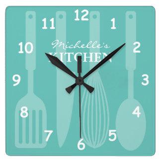 炊事用具が付いているカスタムな台所柱時計 スクエア壁時計
