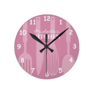 炊事用具が付いているカスタムな台所柱時計 ラウンド壁時計