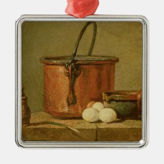 炊事用具の静物画、大がま シルバーカラー正方形オーナメント