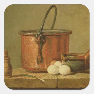 炊事用具の静物画、大がま スクエアシール
