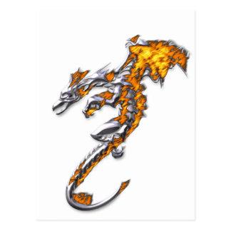 炎が付いているクロムドラゴン ポストカード