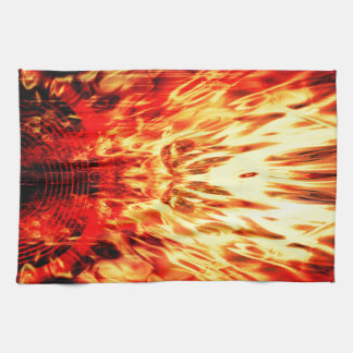 炎が付いている音楽スピーカー キッチンタオル