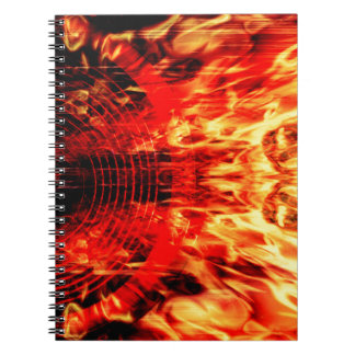 炎が付いている音楽スピーカー ノートブック