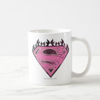 炎とのSupergirlのピンクのロゴ コーヒーマグカップ