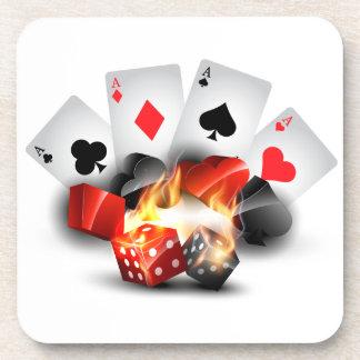 炎のトランプのポーカーのカジノの白 コースター