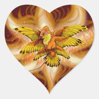 炎のハチドリのPheonixのハート ハートシール