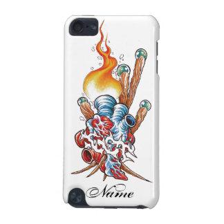 炎の入れ墨との涼しく現実的なハート iPod TOUCH 5G ケース