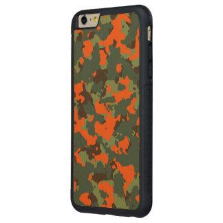 炎の安全オレンジとの緑の迷彩柄 CarvedメープルiPhone 6 PLUSバンパーケース
