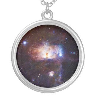 炎の星雲NGC 2024年の隠された火 シルバープレートネックレス