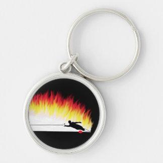 炎を持つスラローム水スキーヤー キーホルダー