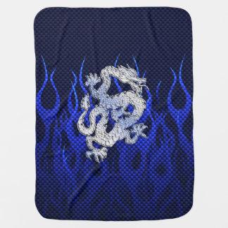 炎を競争させるクロムカーボンの青いドラゴン ベビー ブランケット