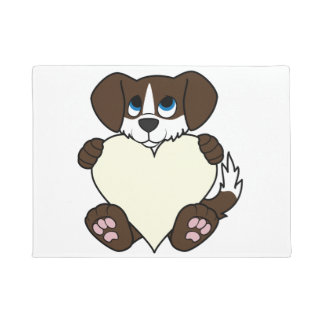 炎及びクリームのハートのバレンタインチョコレート犬 ドアマット