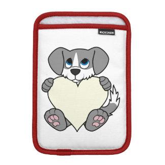 炎及びクリームのハートのバレンタインデーの灰色犬 iPad MINIスリーブ