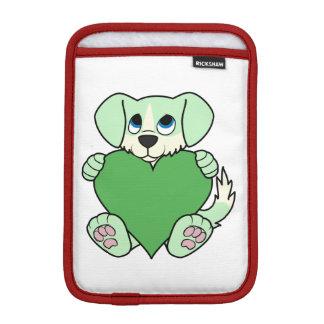 炎及びハートのバレンタインデーの緑犬 iPad MINIスリーブ