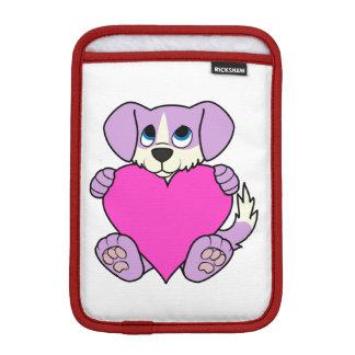 炎及びピンクのハートのバレンタインデーの紫色犬 iPad MINIスリーブ