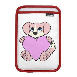 炎及び淡いピンクのハートのバレンタインのピンク犬 iPad MINIスリーブ