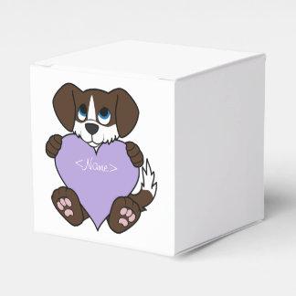 炎及び薄紫のハートのチョコレート犬 フェイバーボックス