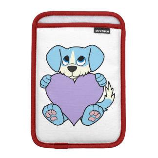 炎及び薄紫のハートのバレンタインの青い犬 iPad MINIスリーブ