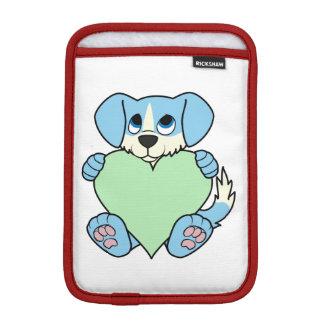 炎及び薄緑のハートのバレンタインの青い犬 iPad MINIスリーブ
