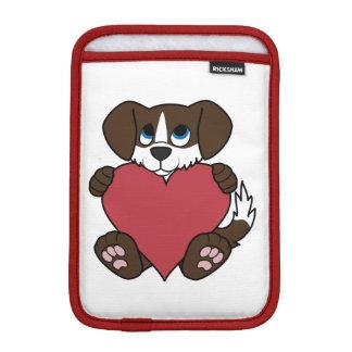 炎及び赤いハートを持つバレンタインチョコレート犬 iPad MINIスリーブ