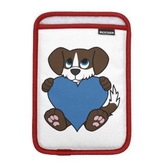 炎及び青いハートのバレンタインチョコレート犬 iPad MINIスリーブ