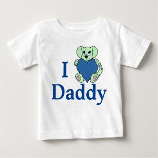 炎及び青いハートのバレンタインデーの緑犬 ベビーTシャツ